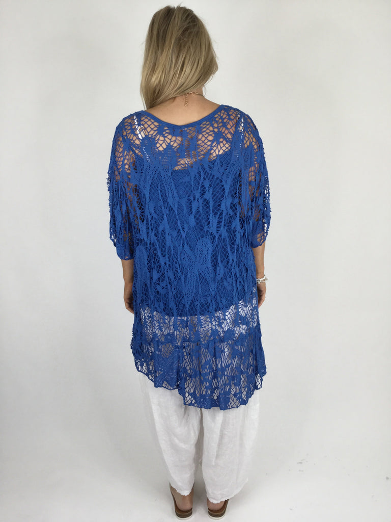 Lagenlook Short Sleeve Net Tunic in Cobalt Blue. code ws743