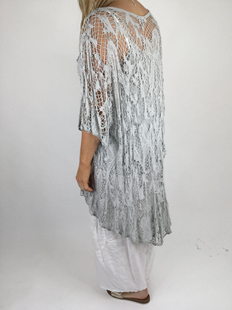 Lagenlook Short Sleeve Net Tunic in Dove Grey. code ws743