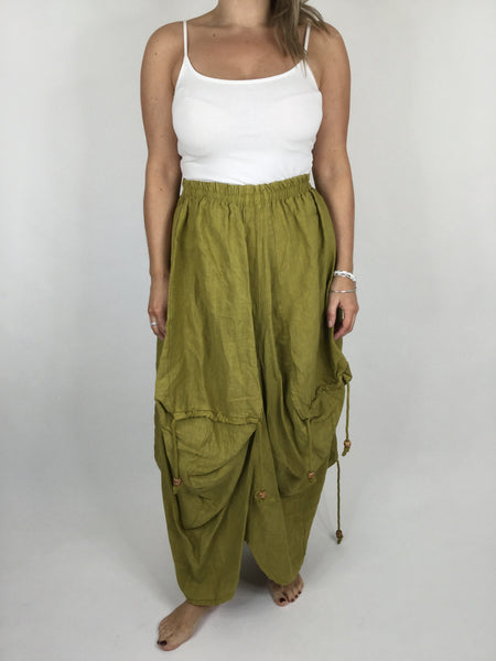 Lagenlook Quirky Linen Skirt in Lime . code 5689