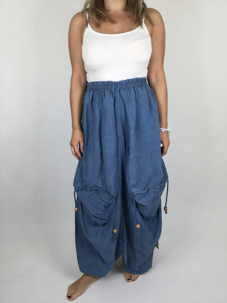 Lagenlook Quirky Linen Skirt in Denim Blue. code 5689