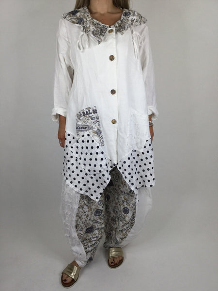 Lagenlook Dot & Stripe Quirky Collar Top Jacket in White . code 50586