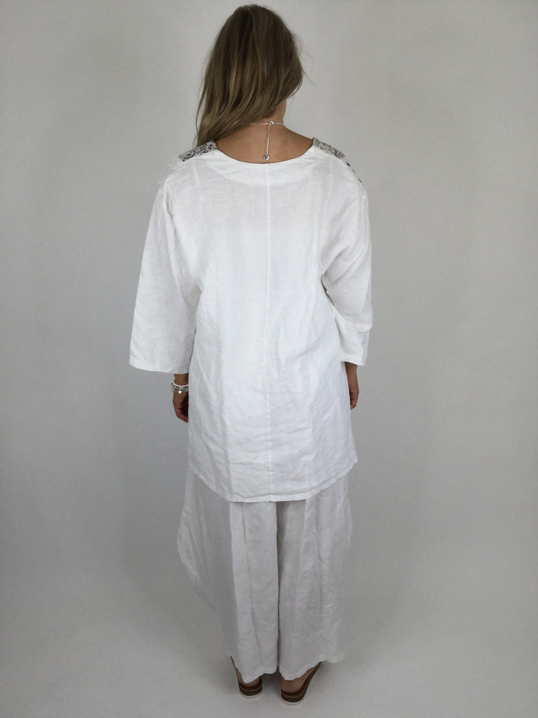 Lagenlook Dot & Stripe Quirky Scoop Neck Tunic in White. code 5175