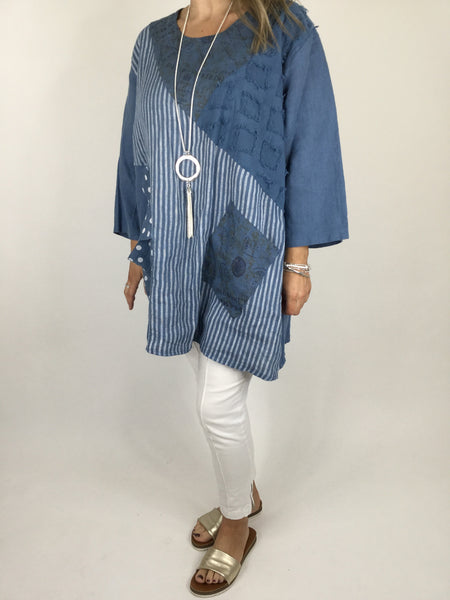 Lagenlook Dot & Stripe Quirky Scoop Neck Tunic in Denim . code 5175