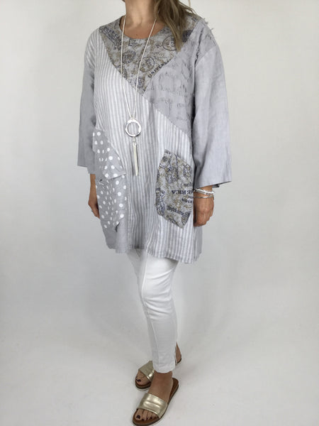 Lagenlook Dot & Stripe Quirky Scoop Neck Tunic in Dove Grey. code 5175