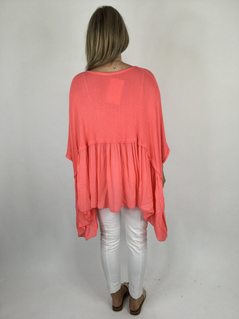 Lagenlook Frill Hem Layering tunic in  Coral. code ws208