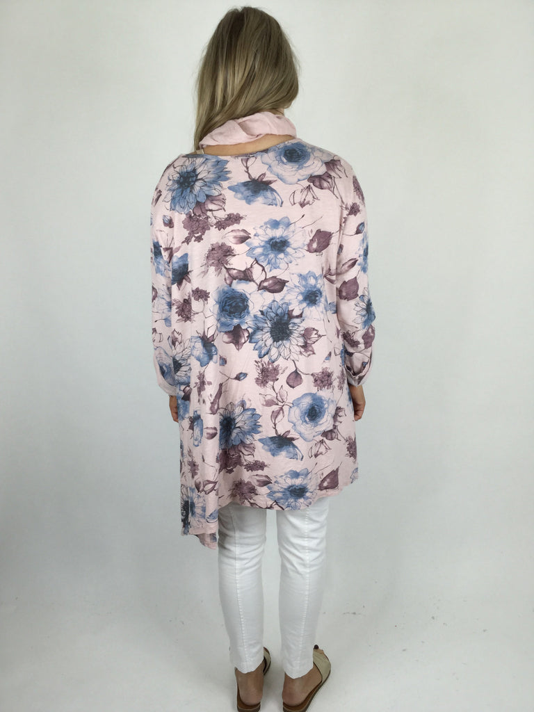 Lagenlook Flower Scarf Oversized Top in Pastel Pink. code ws103