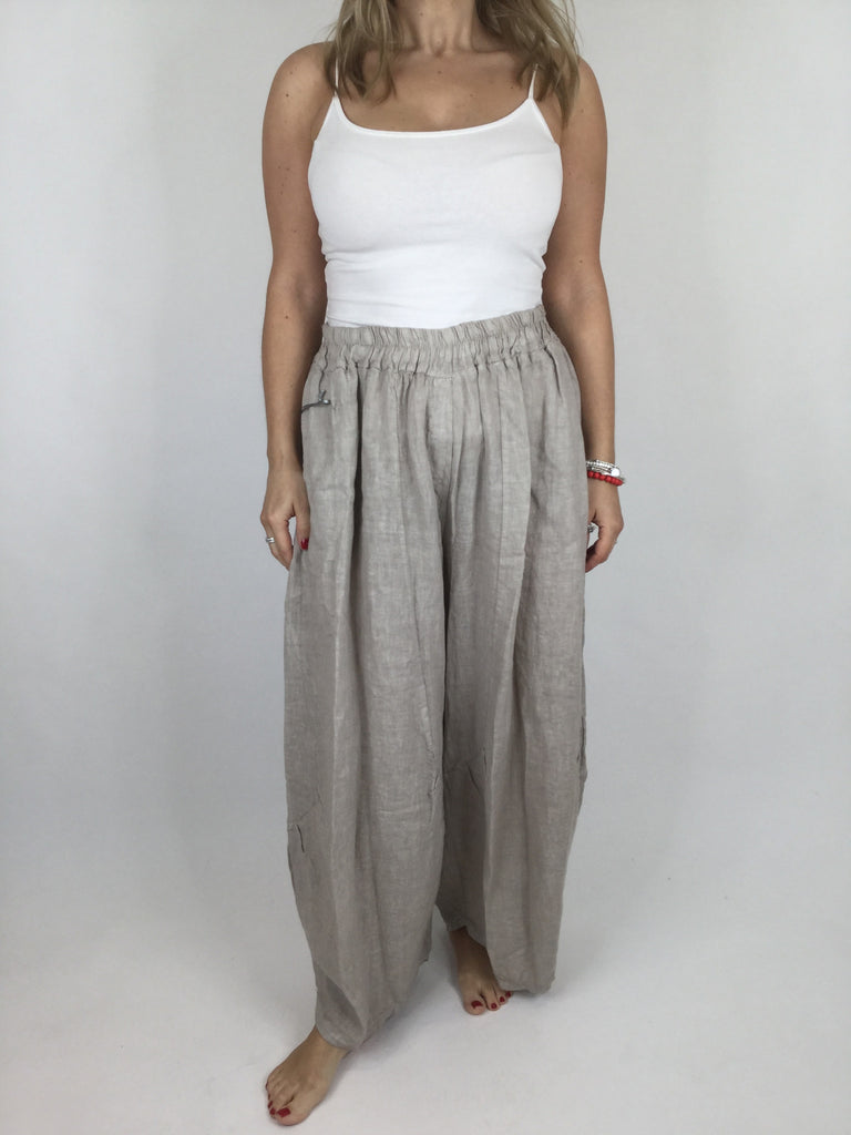 Lagenlook Penny wide Leg Linen Trousers in Beige .code 9032
