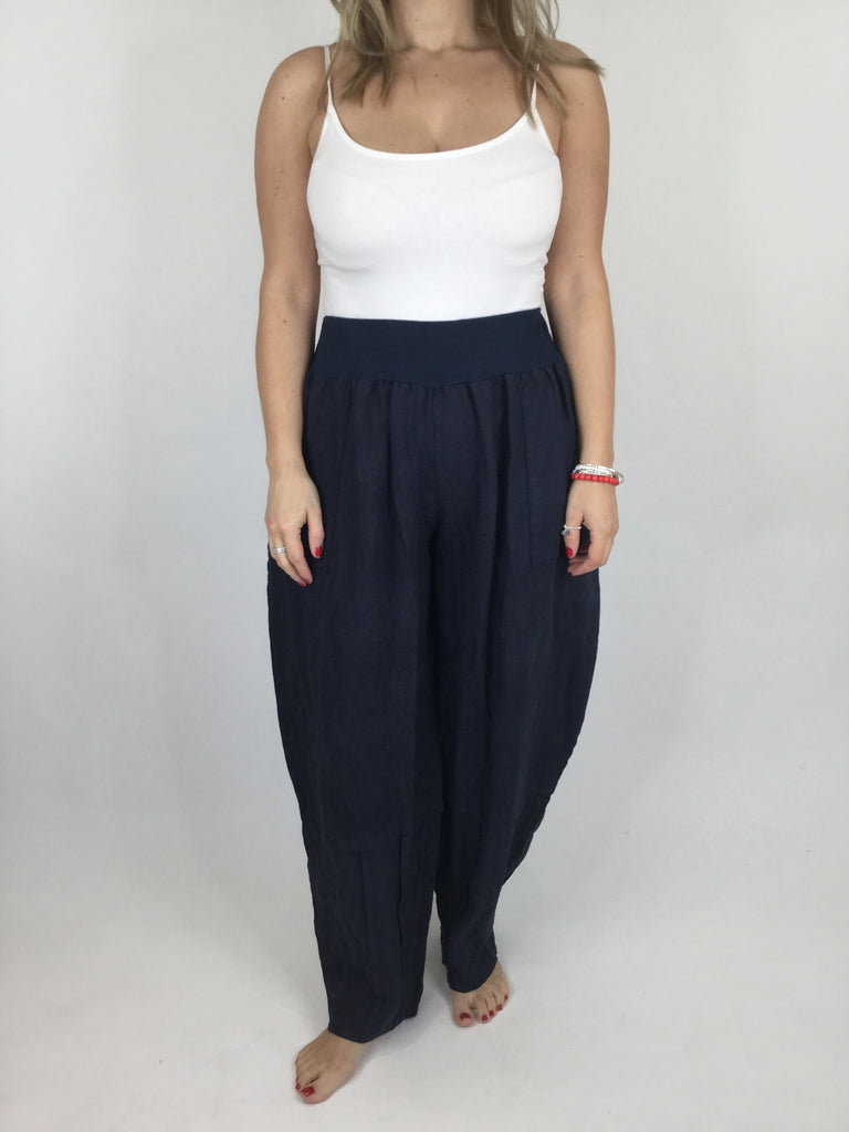 Lagenlook Nora Linen Trouser in Navy. code 6362