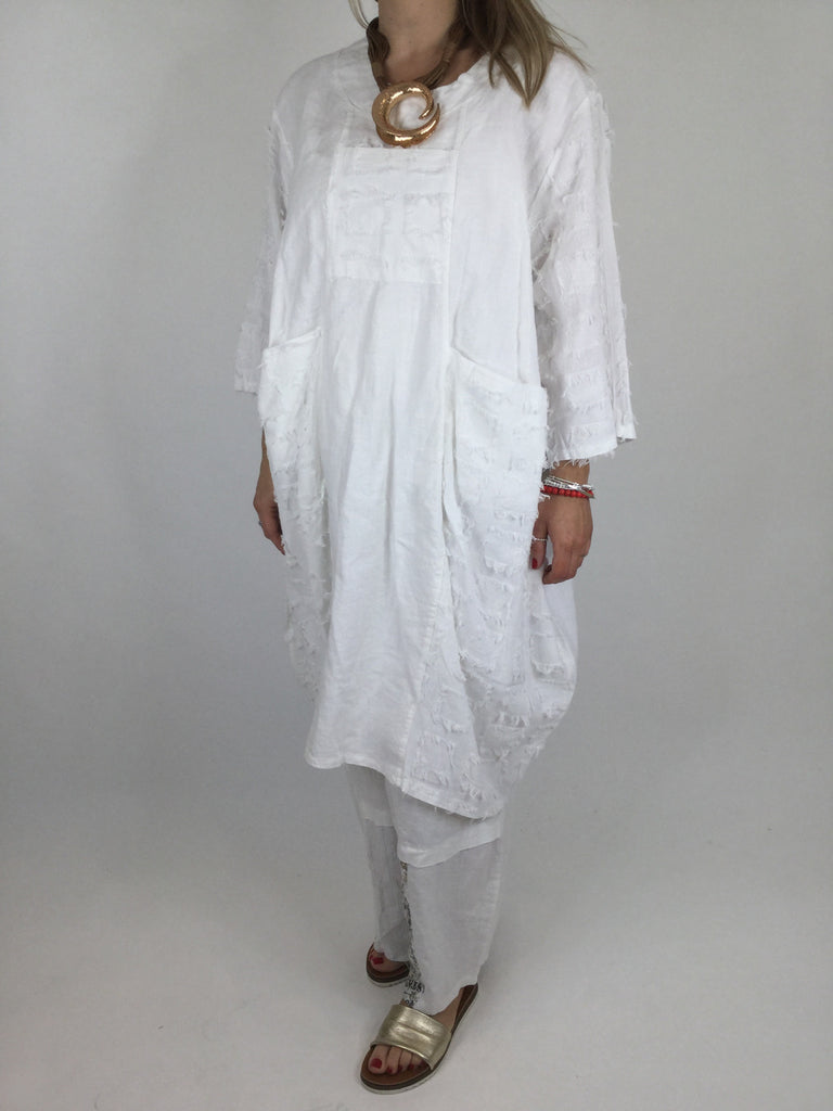 Lagenlook Verity Linen Fray Detail Tunic in White. code 90565