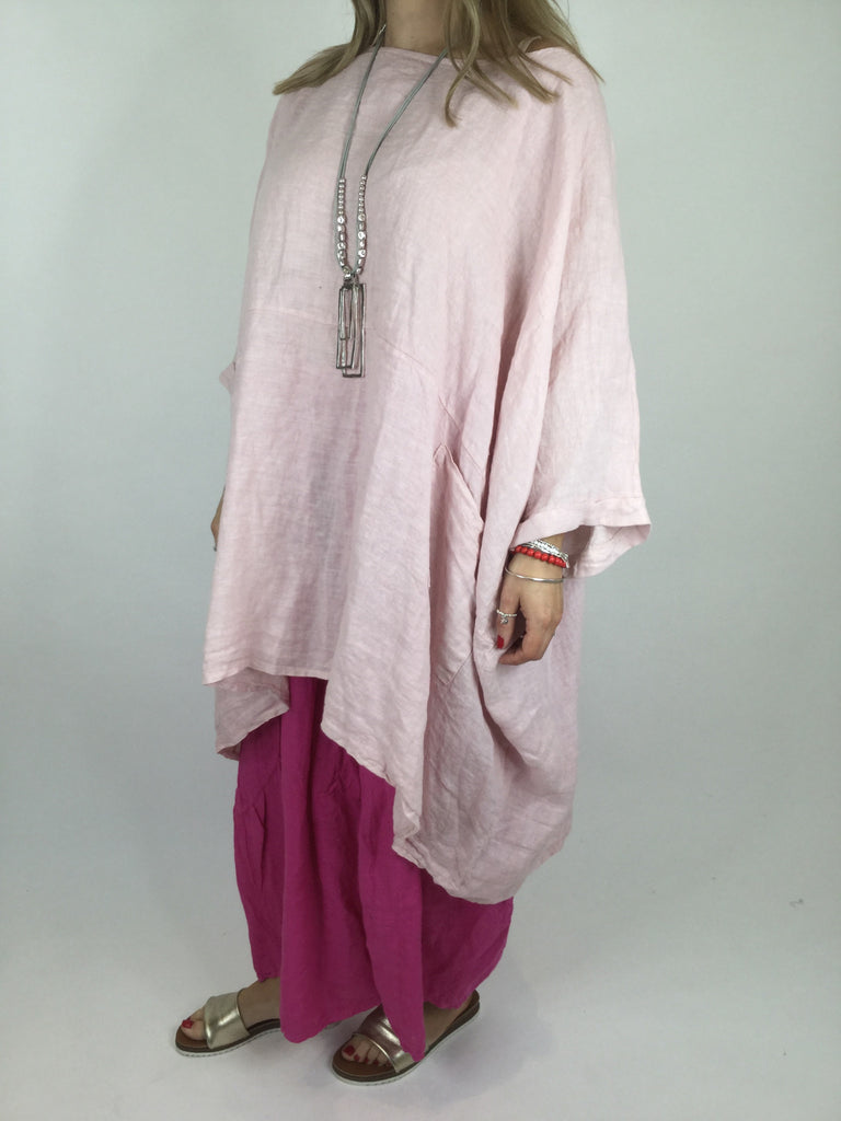 Lagenlook Linen Plain Poncho Top in Pale Pink. code 5699