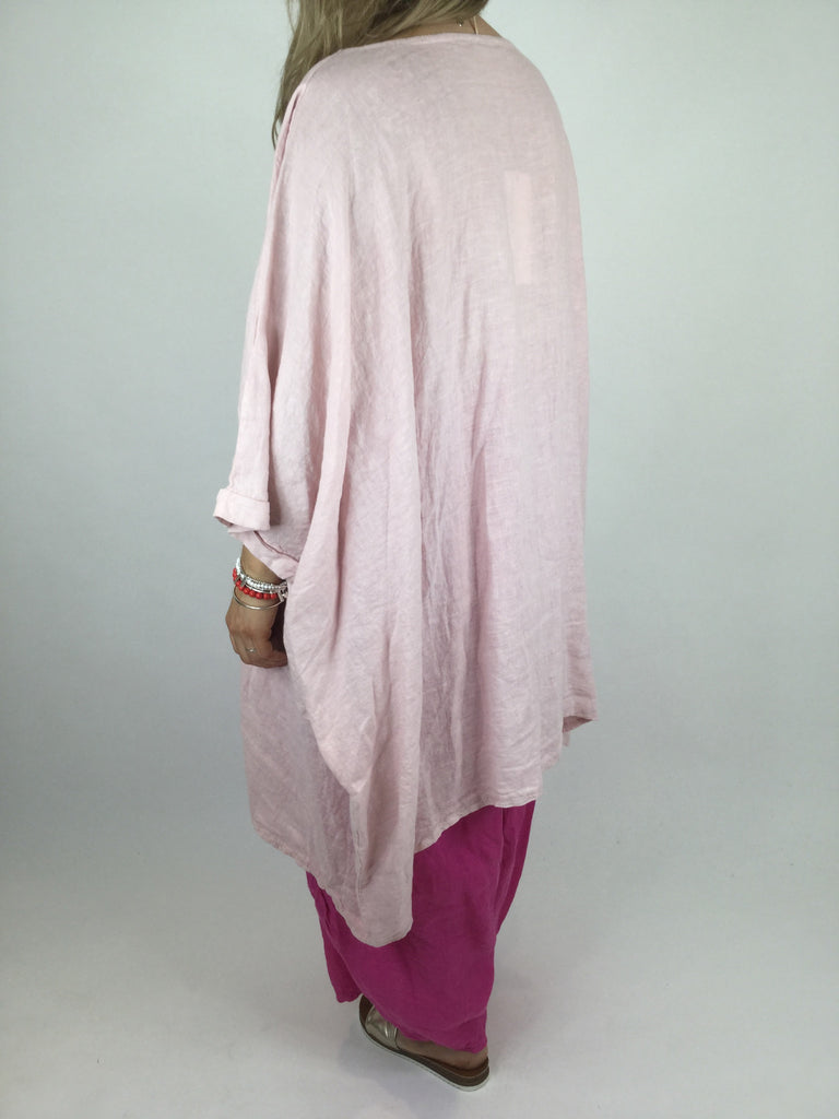 Lagenlook Linen Plain Poncho Top in Pale Pink. code 4326