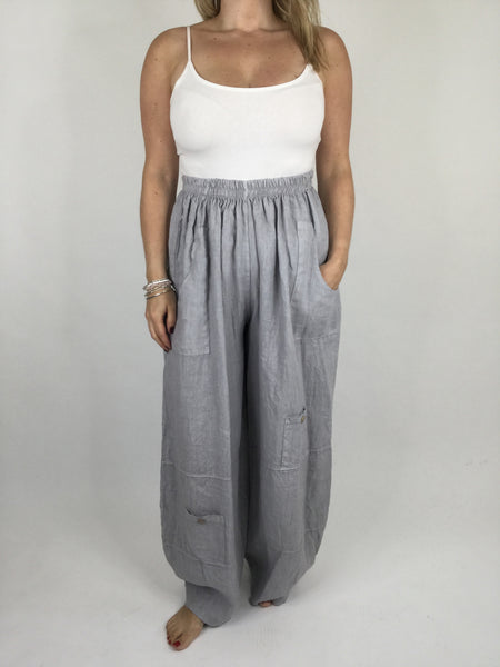 Lagenlook Wide leg Linen Trousers in Light Grey. code 6151