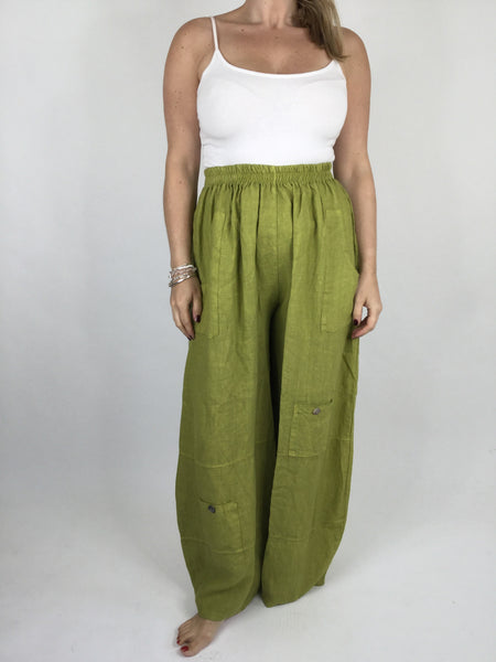 Lagenlook Wide leg Linen Trousers in Lime. code 6151