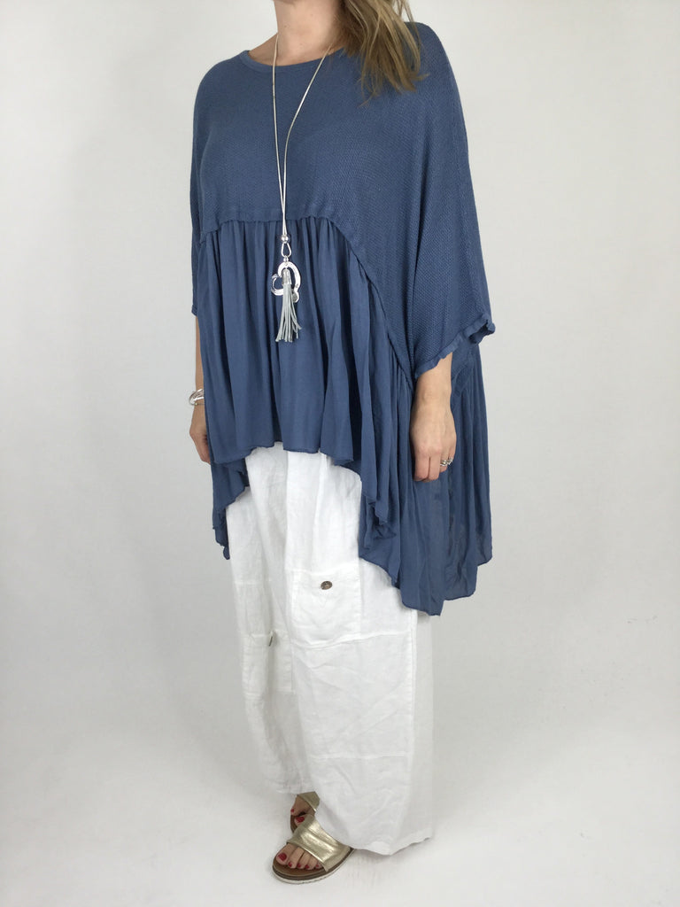 Lagenlook Frill Hem Layering tunic in Denim Blue . code ws208