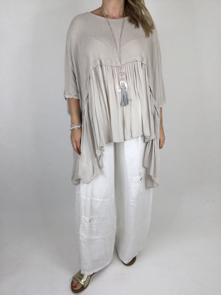 Lagenlook Frill Hem Layering tunic in Cream. code ws208