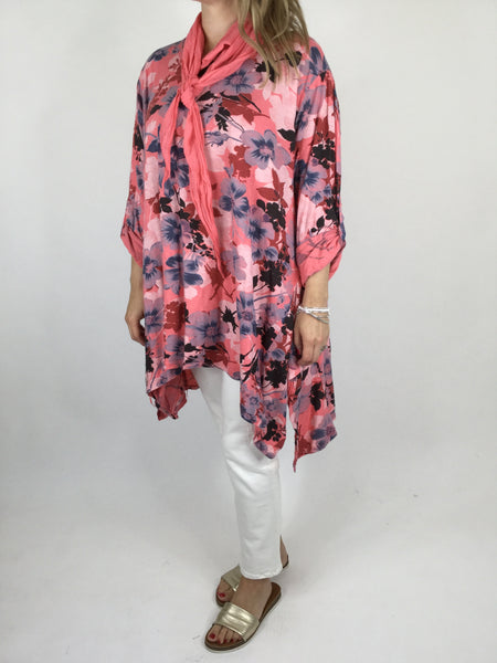 Lagenlook Enchanted Flower Scarf Oversized Top in Coral .code WS1033