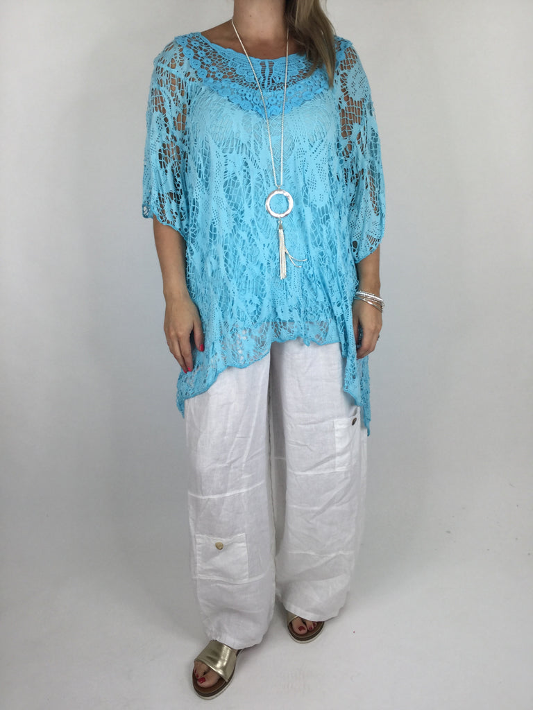 Lagenlook Short Sleeve Net Tunic in Aqua Blue . code ws743