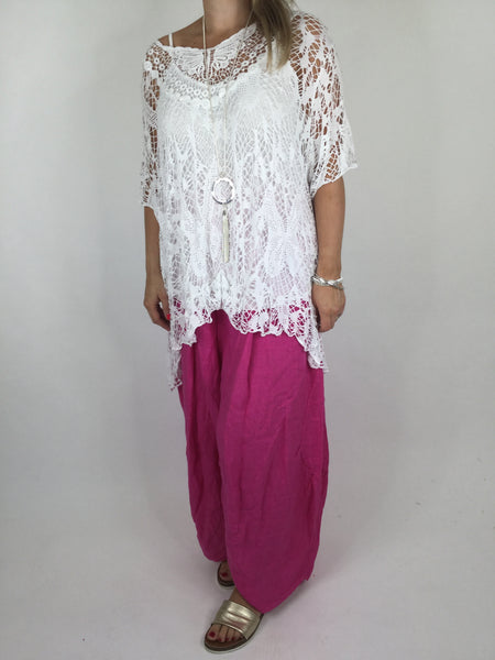 Lagenlook Short Sleeve Net Tunic in White . code ws743