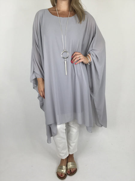 Lagenlook Float Oversized Poncho in Light Grey. code WS1121