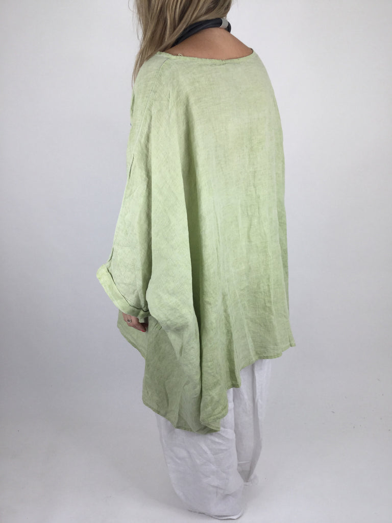 Lagenlook Linen Poncho Top in Lime. code 461