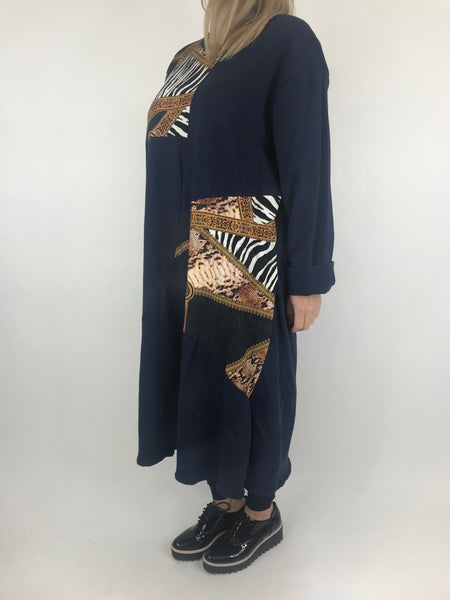 Lagenlook Donny Chain Print Patch Tunic in Navy. code AB610