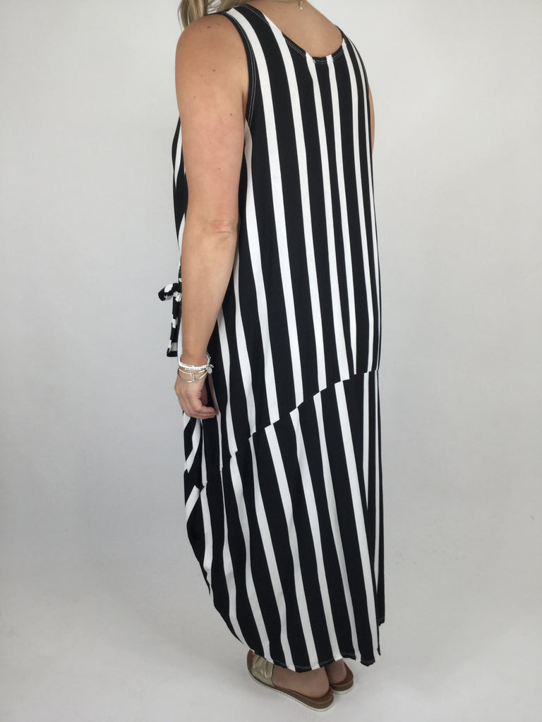 lagenlook Stripe Soft Jersey Dress in Black. Code 1131