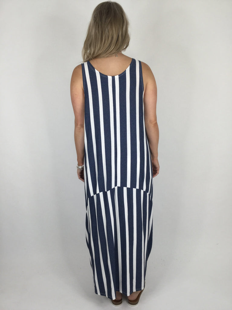 Lagenlook Stripe Soft Jersey Dress in Navy. Code 1131