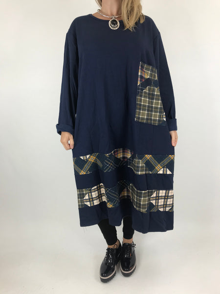 Lagenlook Arielle Pocket Check Tunic in Navy. code AB616