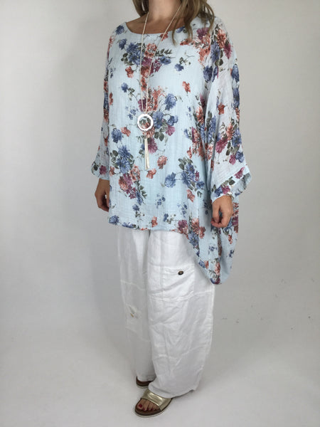 Lagenlook Cotton Summer Flower Poncho Tunic in Sky Blue. Code WS7682