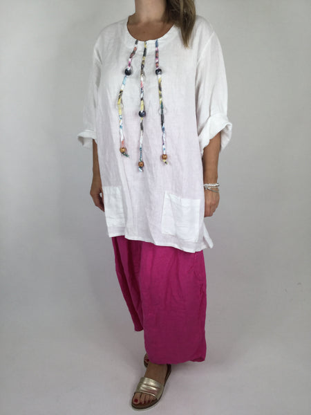 Lagenlook  Linen Woodern Bead Front Top in White. Code 90559