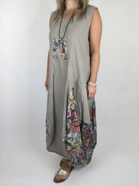 Lagenlook  Flower  Pocket Front Linen Tunic Dress in Mocha. Code 4518