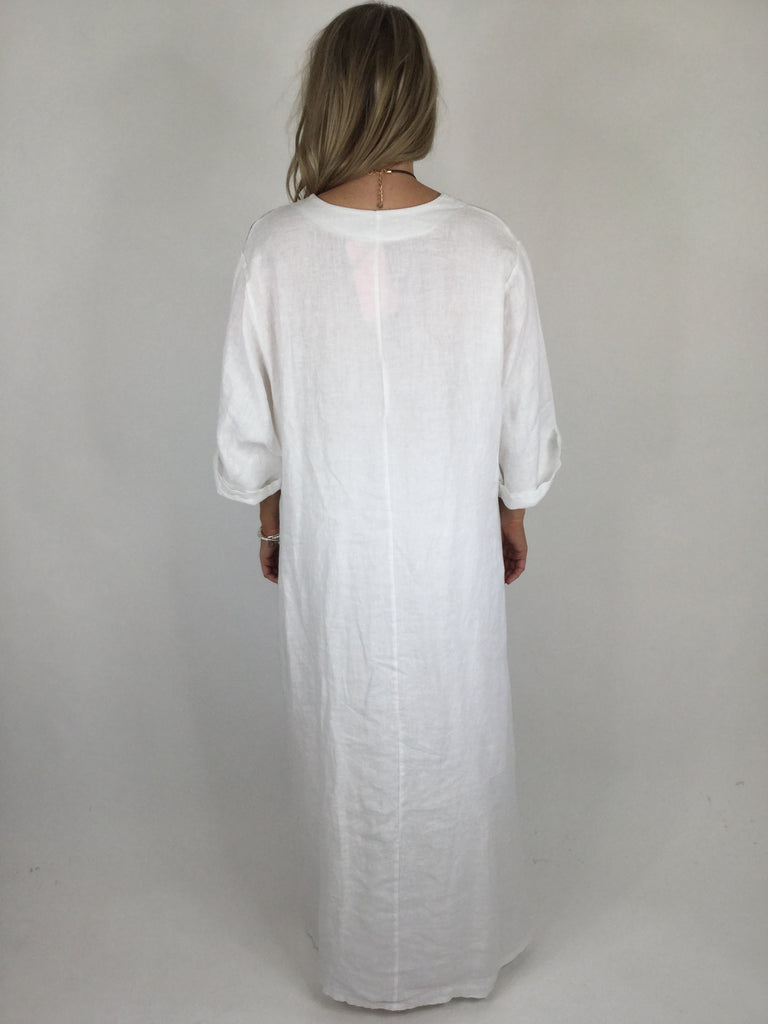 Lagenlook Linen New Postcard Flower Print Maxi Tunic in White. Code 90608
