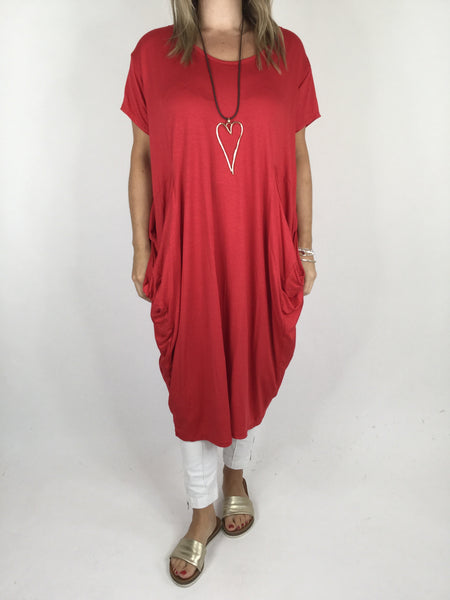 Laganlook Jersey quirky pocket  Tunic in Red . Code 1610
