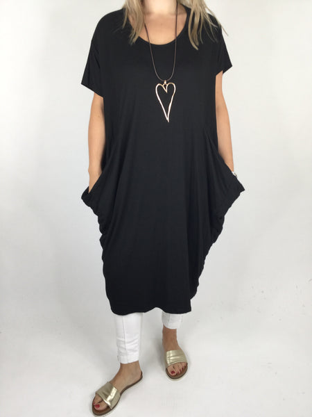 Laganlook Jersey quirky pocket  Tunic in Black. Code 1610