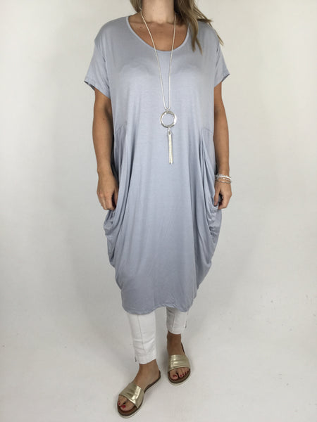 Laganlook Jersey quirky pocket  Tunic in Dove Grey. Code 1610
