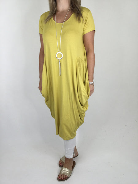 Laganlook Jersey quirky pocket  Tunic in Yellow. Code 1610