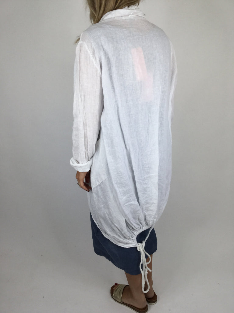 Lagenlook Drawstring Linen Jacket in White.code 181