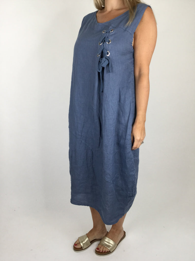 Lagenlook Linen Lace Detail Tunic in Denim Blue. Code 7525