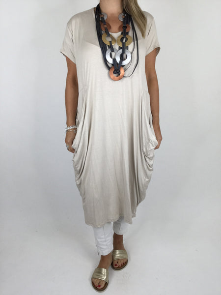 Laganlook Jersey quirky pocket  Tunic in Cream. Code 1610