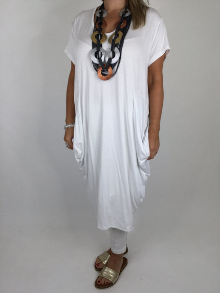 Laganlook Jersey quirky pocket  Tunic in White. . Code 1610