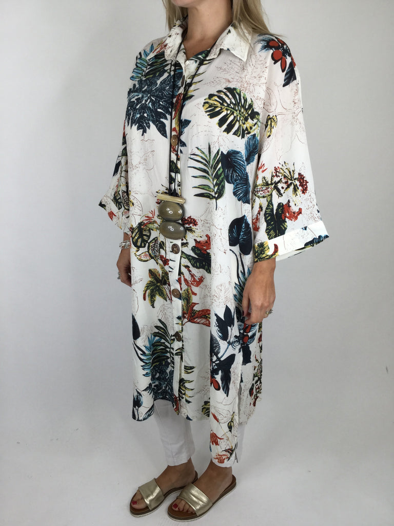 NESLAY Lagenlook Tropical Print Shirt in Cream. code 7120