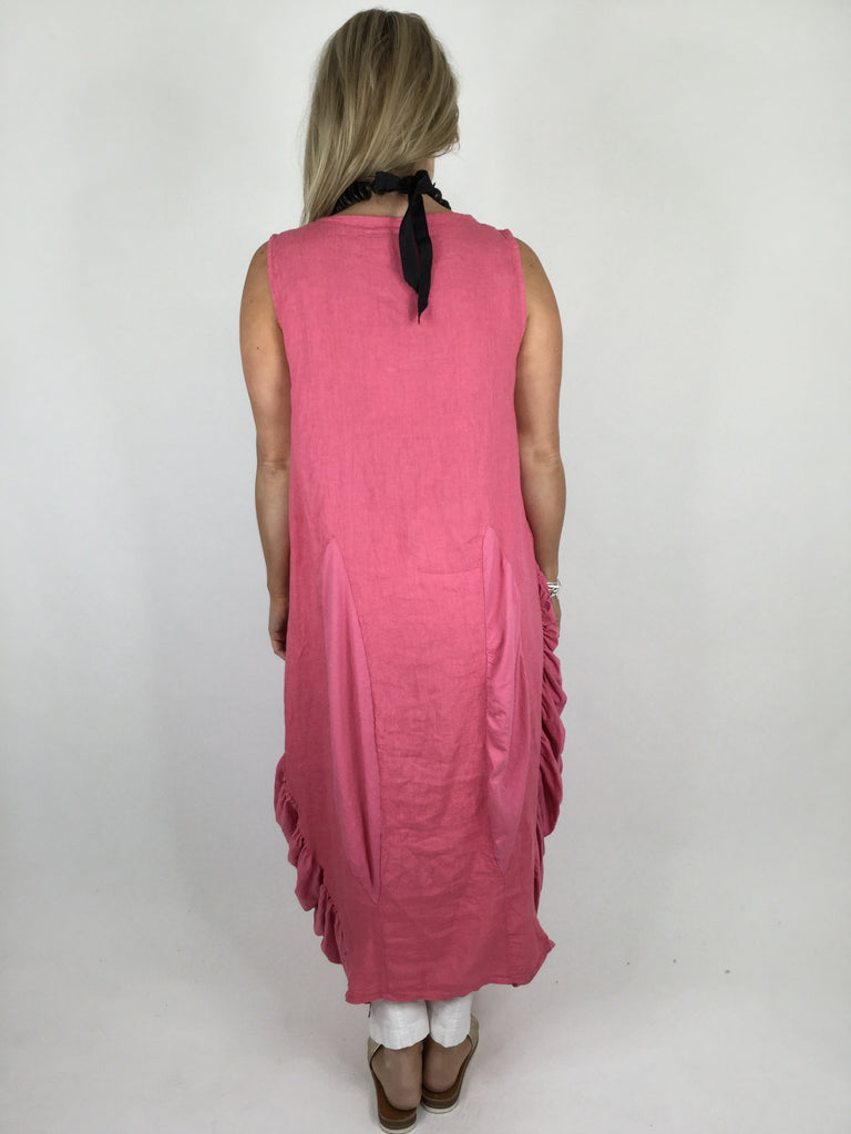 Lagenlook Gather Side Linen Tunic in Coral. Code 9362