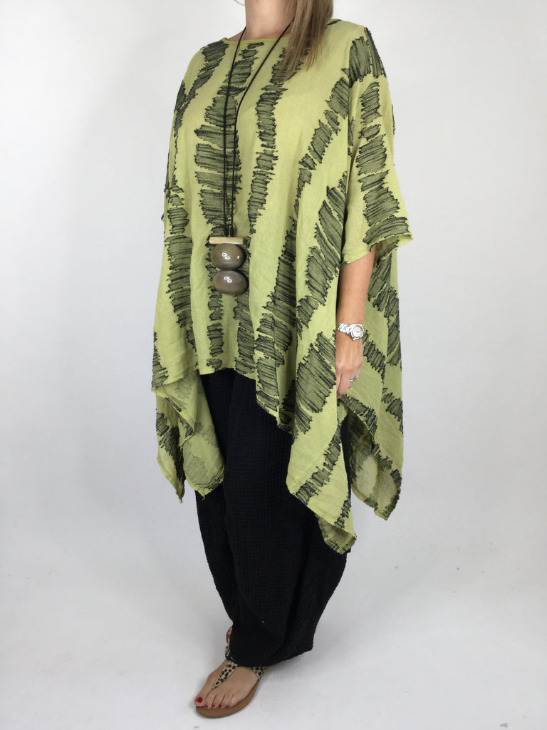 Lagenlook ladder poncho in Lime. code 66511