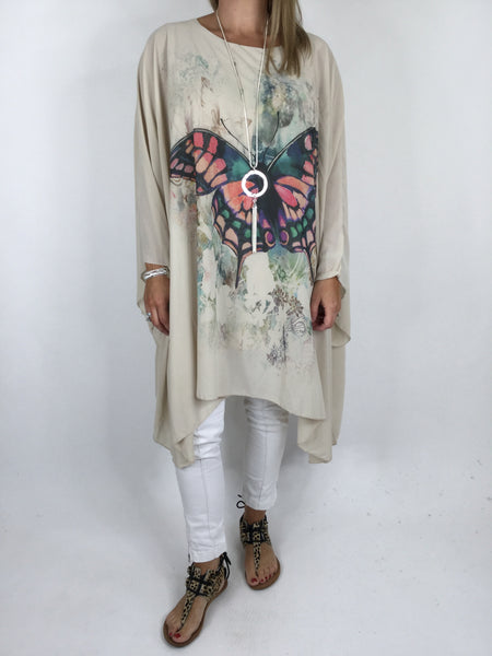 Lagenlook Butterfly Print Oversized Poncho in Cream. code WS11211