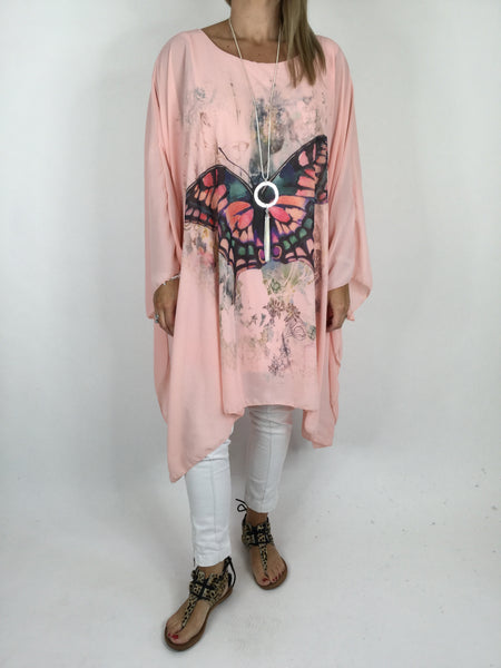 Lagenlook Butterfly Print Oversized Poncho in Pale Pink. code WS11211