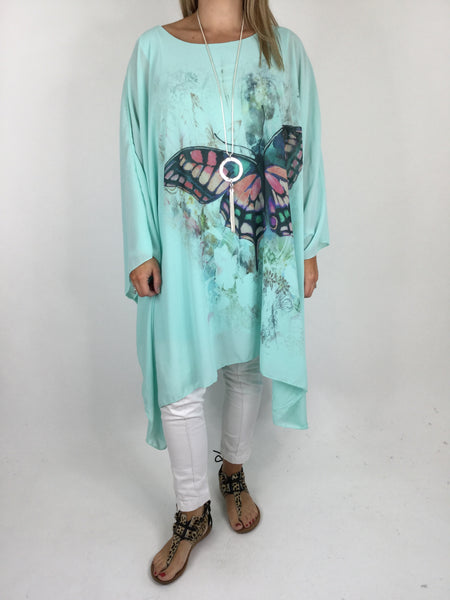 Lagenlook Butterfly Print Oversized Poncho in Mint. code WS11211