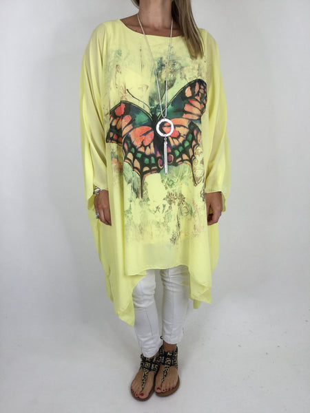 Lagenlook Butterfly Print Oversized Poncho in Yellow. code WS11211
