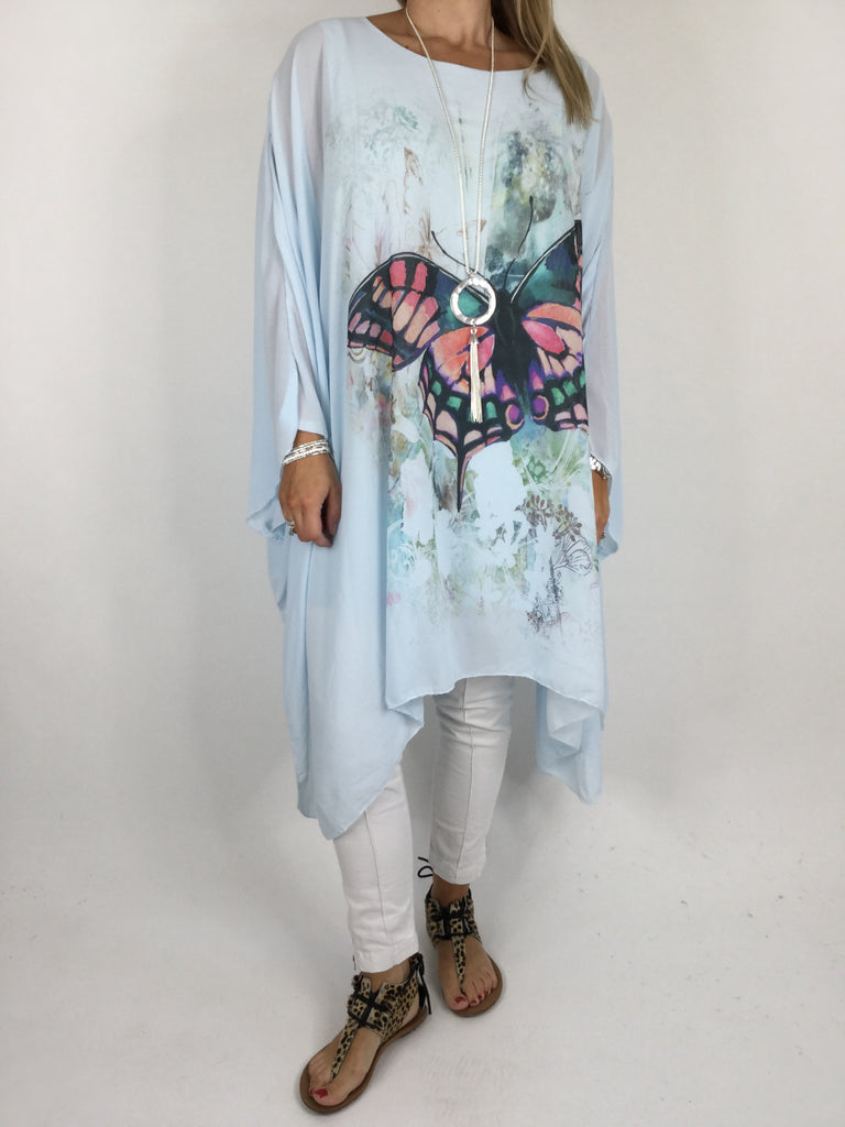 Lagenlook Butterfly Print Oversized Poncho in Sky Blue. code WS11211