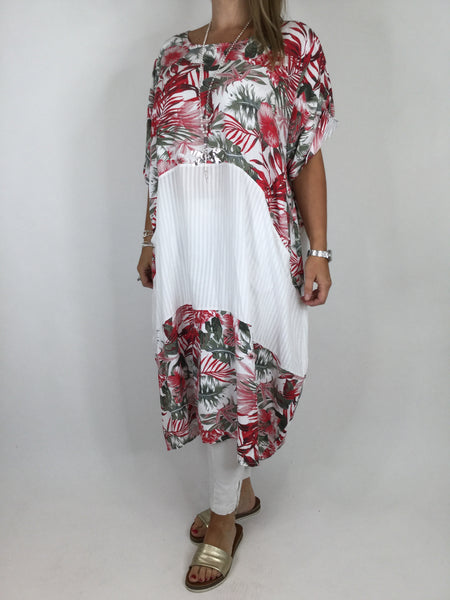 Lagenlook Curve Tropical Print Tunic in White. code 1477