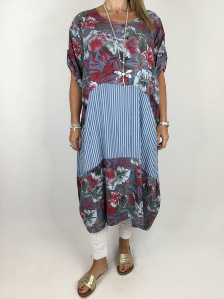 Lagenlook Curve Tropical Print Tunic in Denim Blue. code 1477